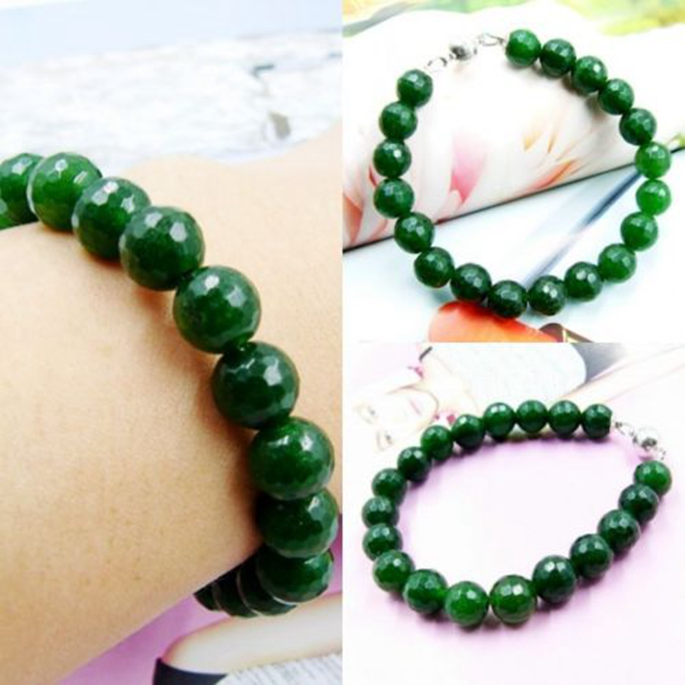 Vintage Classic Laboratory-created Natural Stone Jewelry Delicate Deep Green Emeralds Beaded Bracelet 21 cm(China (Mainland))