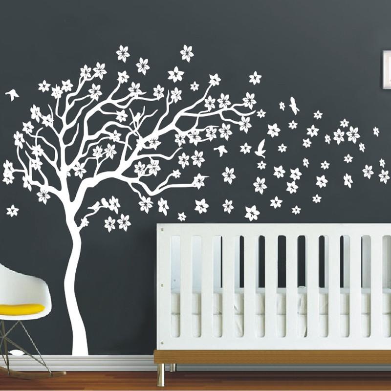 Huge White Tree Flowers 3D Vinyl Wall Decal Nursery Tree