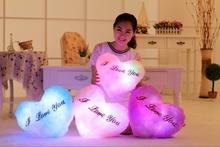 36*30cm Luminous Stuffed  LED Light Up Plush Glow  Pillow Music Playing  Auto 7 Color Rotation Illuminated Heart Shaped Cushion