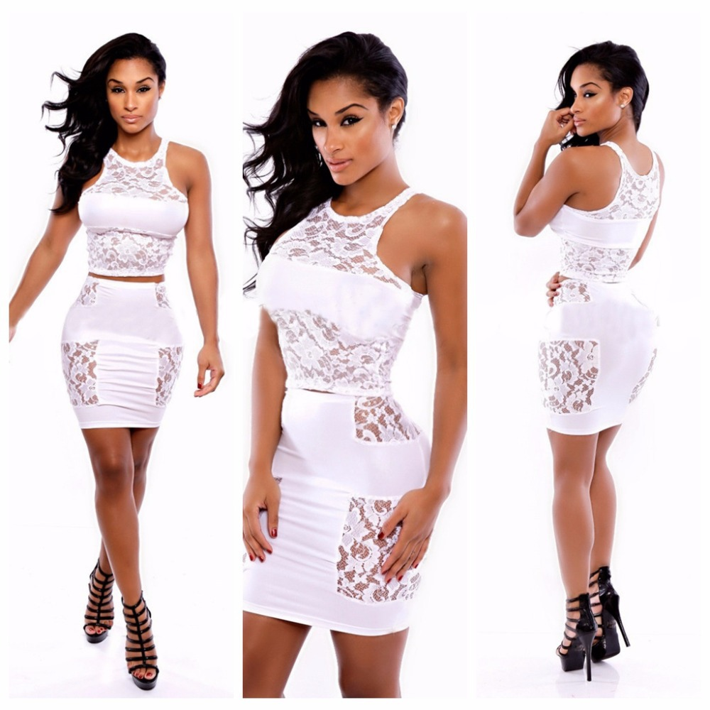 2015 Women New Fashion White Lace Mini Dress Brand New Celebrity Style Casual Short Dresses For