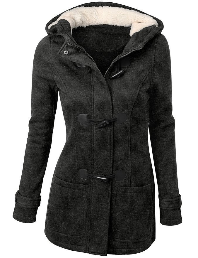 2016 New Fashion Women Winter Cotton Coat Wool Blend Slim Hooded cotton coat Zipper Horn Button Long section Coats Outerwear