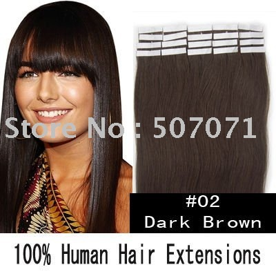 "5sets 20"" remy tape in hair extensions remy hair extensions tape #02 dark brown 50g/set 20pcs/set EMS free"