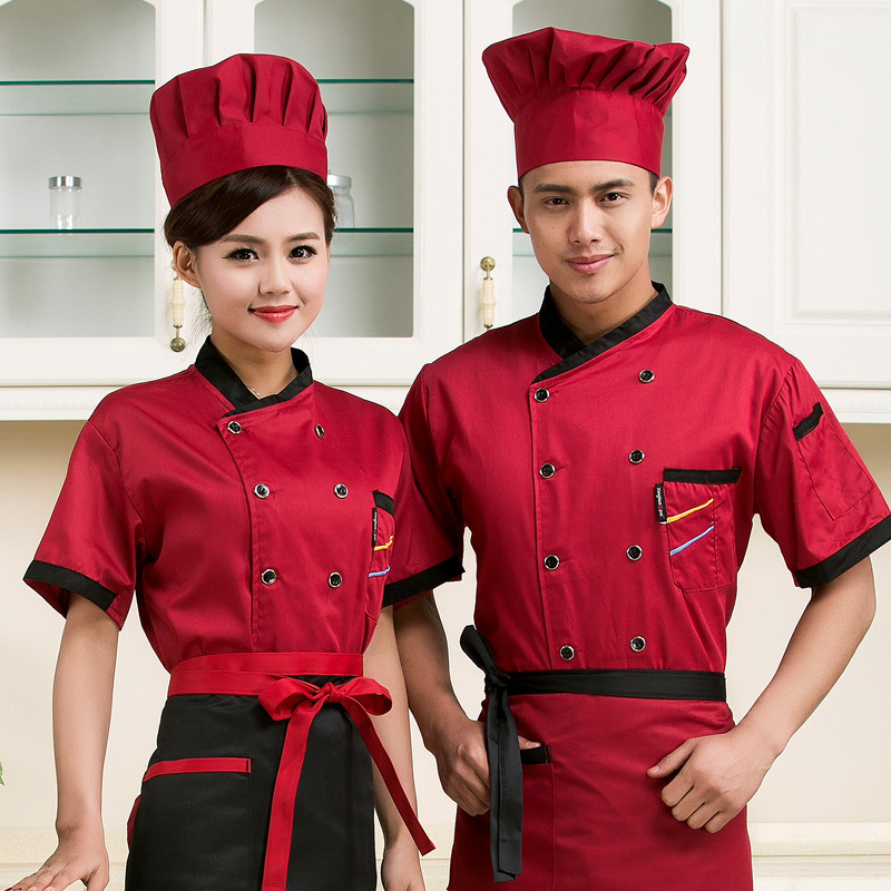 high quality 2015 Summer Short-sleeved Chef service Hotel working wear Restaurant work clothes Tooling uniform cook suit Tops(China (Mainland))