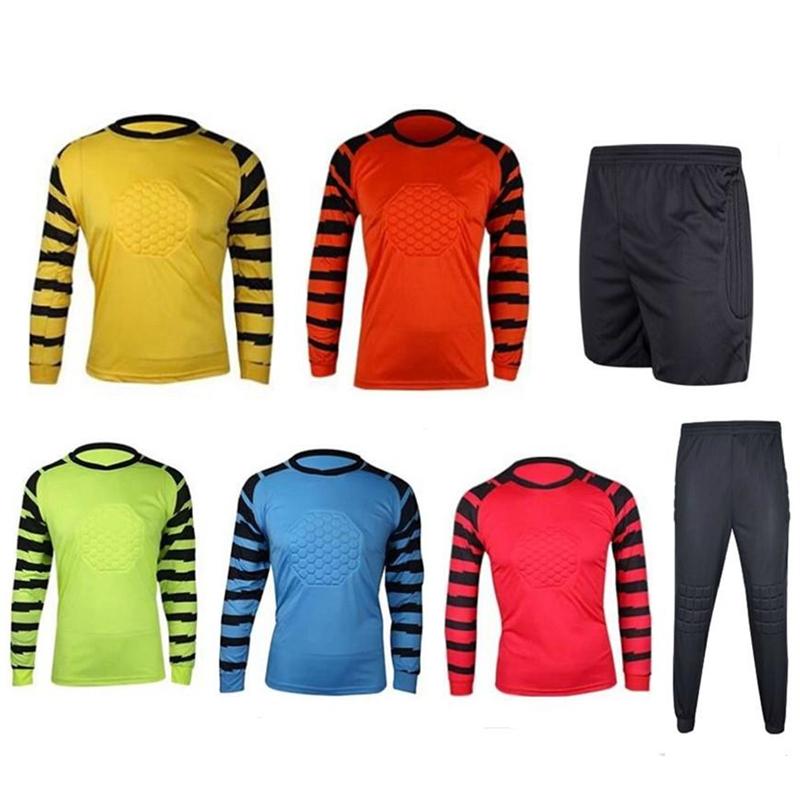 2016 New Men's Soccer Goalkeeper Training Jersey Sets Sponge Protector Suit Football Goalkeeper Uniforms Doorkeepers Pants Shirt(China (Mainland))