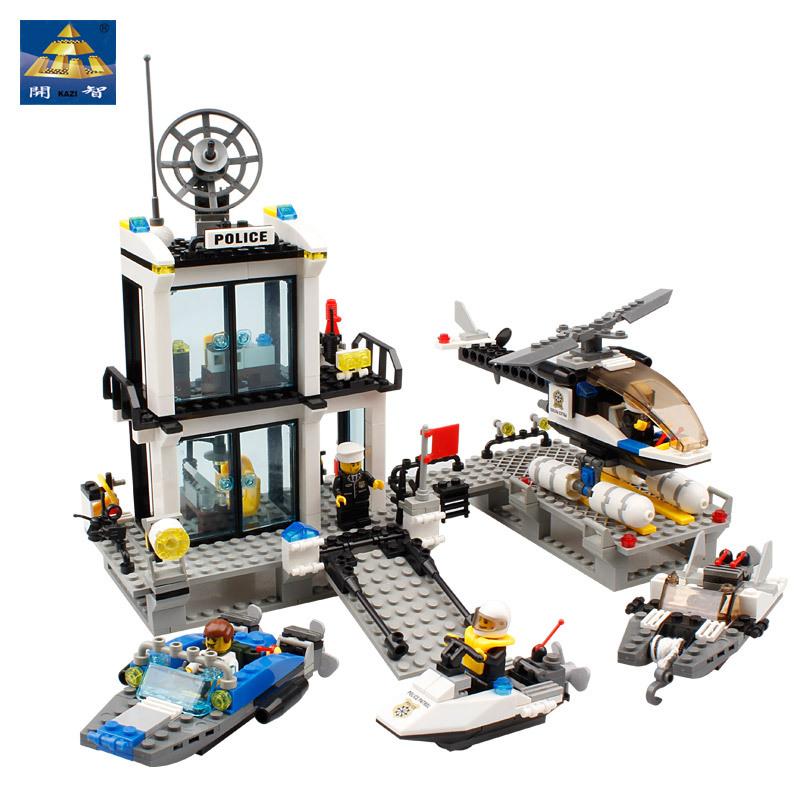 Police Station Building Blocks Sets Model 536pcs Helicopter Speedboat Educational DIY Bricks Toys For Children(China (Mainland))