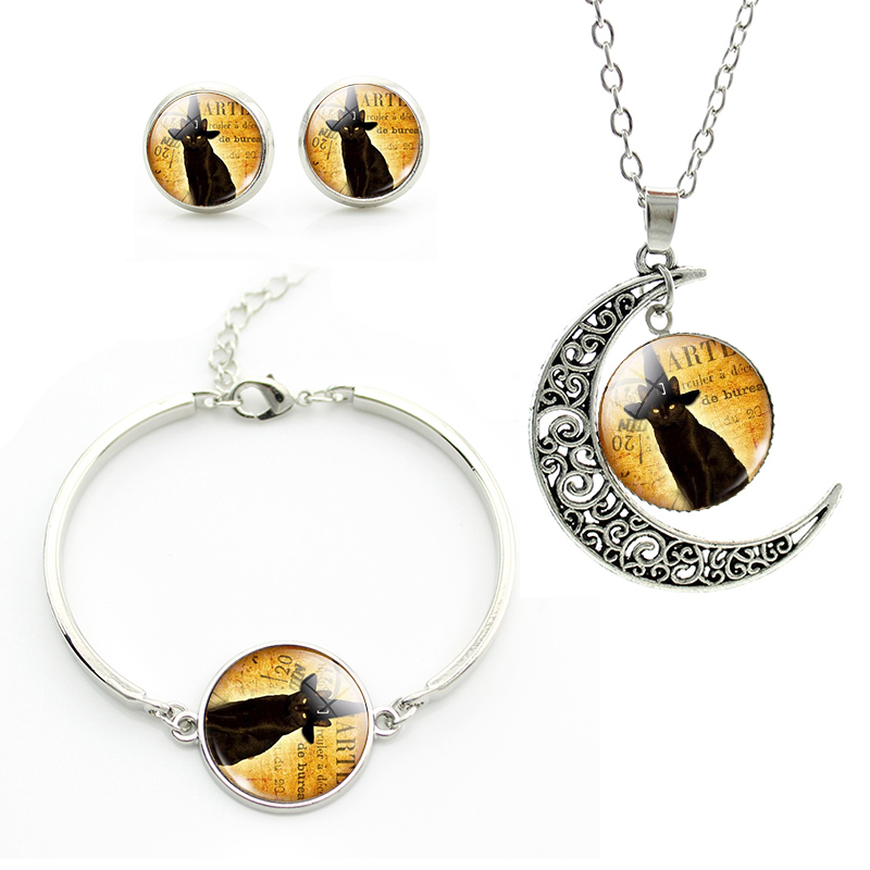 Cat Necklace Earrings Bracelet Jewelry Set Glass cabochon art picture plated silver jewelry gift for Halloween christmas JS029(China (Mainland))