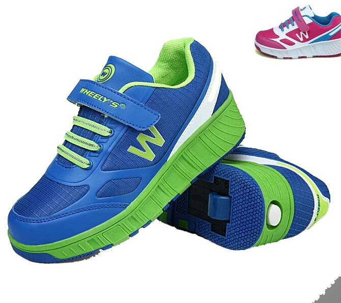 2015 Roller Skate Shoes Safe Sapatos Kids Automatic InvisibleButton Wheels Light Anti Skid Sk