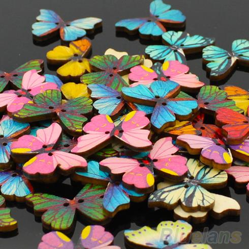 50pcs 2 Holes Mixed Butterfly Wooden Buttons Sewing Scrapbooking DIY 1QA2 483E