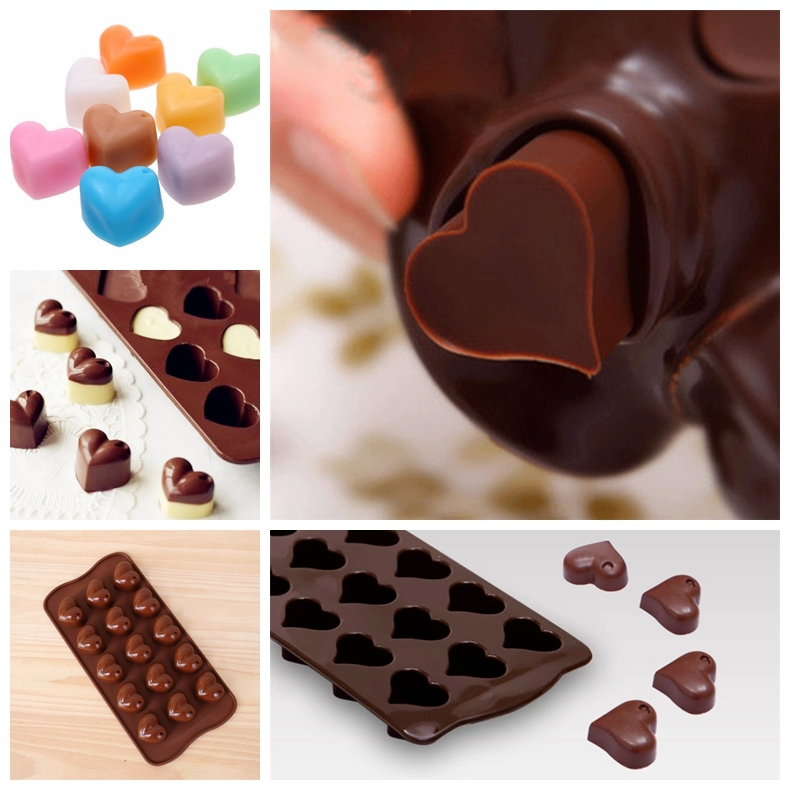 15 Grids Love Heart Shape Silicone Chocolate Mold To Form The Soap Cake Moldes De Silicone Silicona Cake Tencil(China (Mainland))
