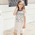 2016 Summer Girls Cotton Frock Designs Lace Style Dress Clothing for Teens Age 5 6 7