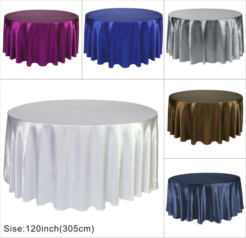 """Satin Round Table Cloth Banquet Wedding Satin Tablecloth 120"""" Round Table Cover Free Shipping(China (Mainland))"""