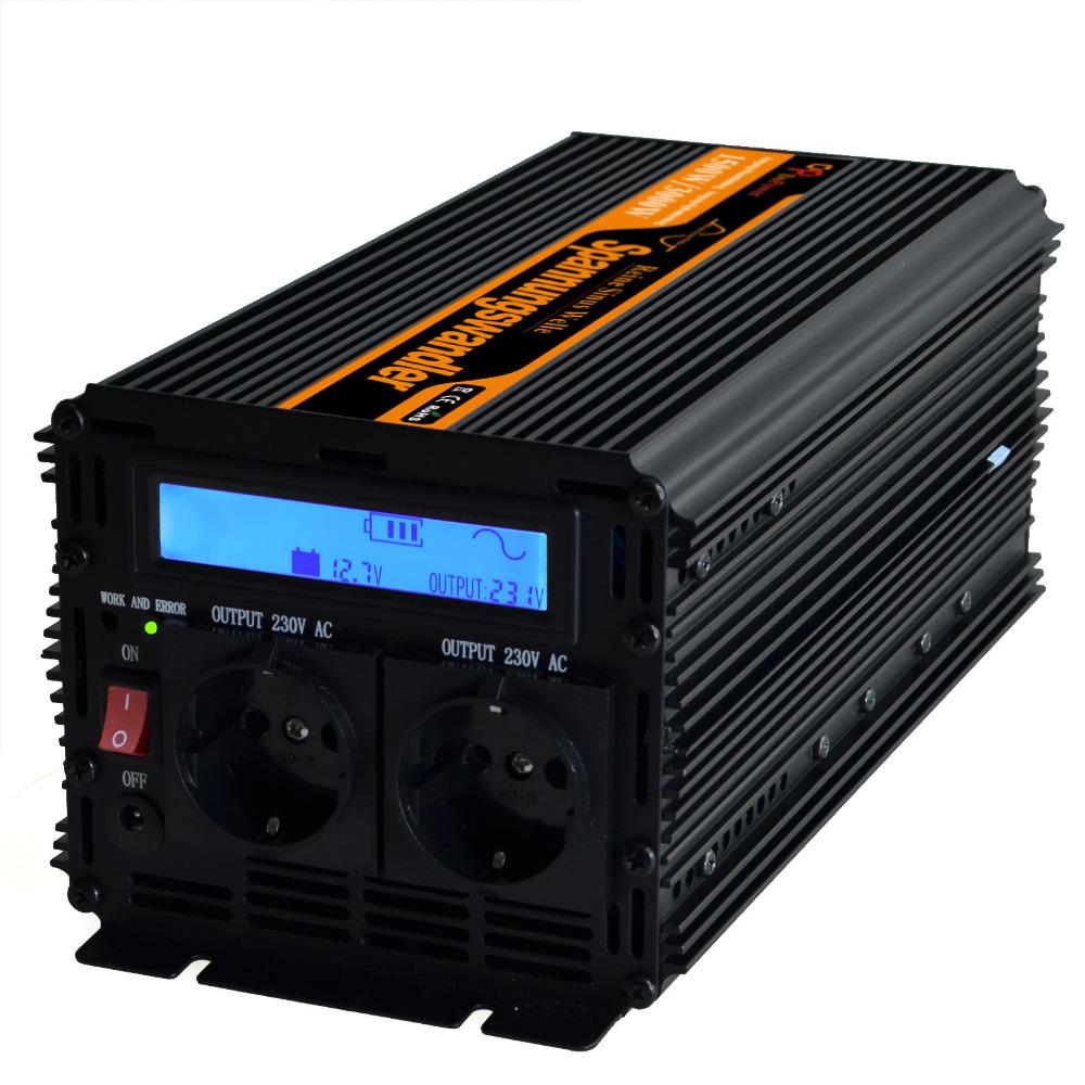 UPS + LCD Dispaly inverter 12v 220v 230v 1500w (peak 3000w) pure sine wave inverter converter(China (Mainland))