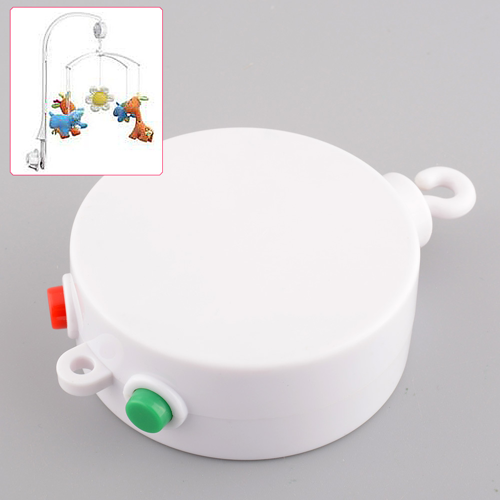 White 12 Melodies Baby Rattles Toys Kids Toys Mobile Toy Windup Movement Crib Bed Bell Electric Autorotation Music Box Songs(China (Mainland))