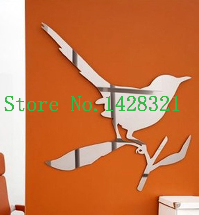 25x28cm(10x11in) Simple Bird Standing On The Tree Branch Wall Stickers Mirror Decals Home Decoration (a361221)