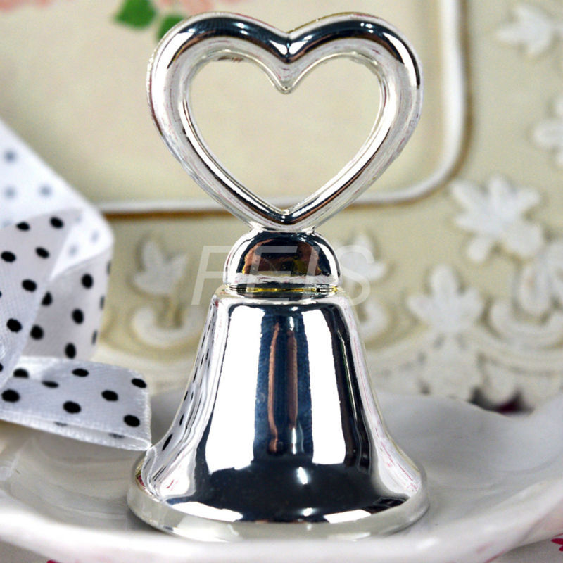 'Silver Heart' Bell Place Card Holder wholesale 1000pcs/lot Wedding favors matching card for table card holders wedding supplies(China (Mainland))