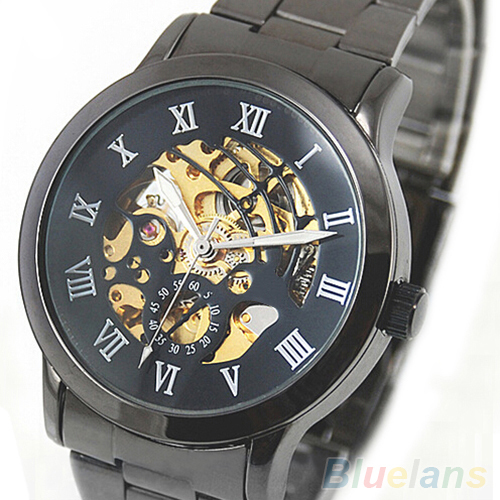 Mens Hollow Roman Numerals Tungsten Steel Mechanical Skeleton WristWatches <br><br>Aliexpress