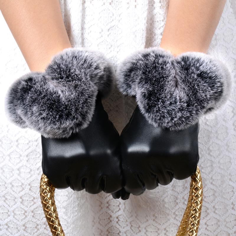 Women's fashion autumn winter large rex rabbit hair leather gloves female thermal plus velvet thickening cold-proof - Orginal Traumerei Studio store