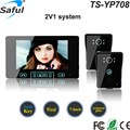 7 colour TFT LCD High Sensitivity touch button wired video door intercom phones with 2 front