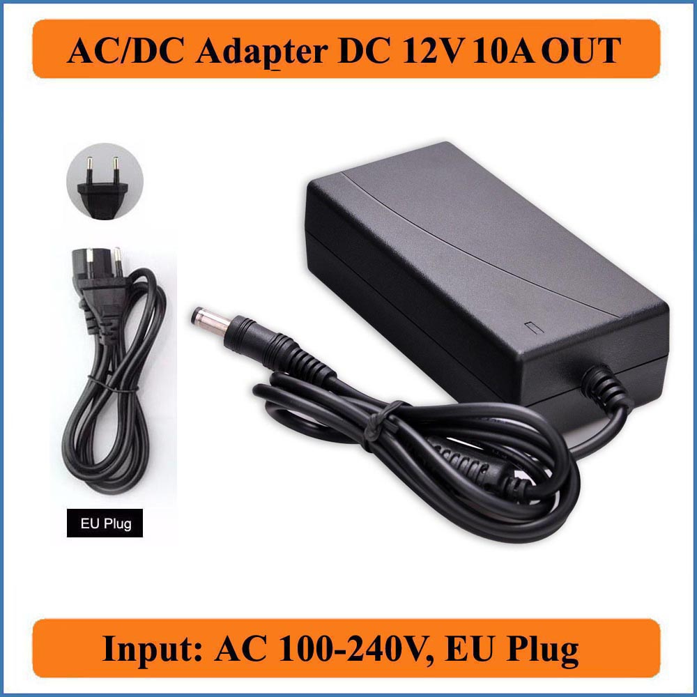 12V 10A EU Plug AC DC Adapter AC100-240V to DC12V Power Converter Adapter for LED strip light/Wireless Router/Security ADSL Cats(China (Mainland))