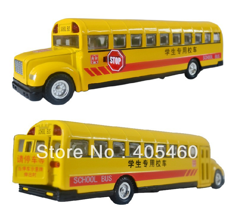 Free shipping Classic school bus plain WARRIOR music car model toy birthday gift(China (Mainland))