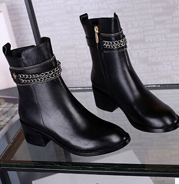 2015 Famous Brand Genuine Leather Women Motorcycle Boots Famous Designer Flat Ankle Boot Women Winter Shoe Buckle Fashion Boots