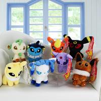 """Pokemon Umbreon Eevee Espeon Jolteon Vaporeon Flareon Glaceon Leafeon Plush Toy 5"""" Soft Stuffed Doll 8pcs/set"""