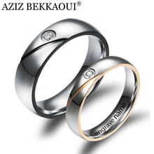 Buy Couple Rings Engrave Name Wedding Rings Women / Men CZ Crystal Loves Rings 316L Stainless Steel Engagement Promise Jewelry for $2.34 in AliExpress store