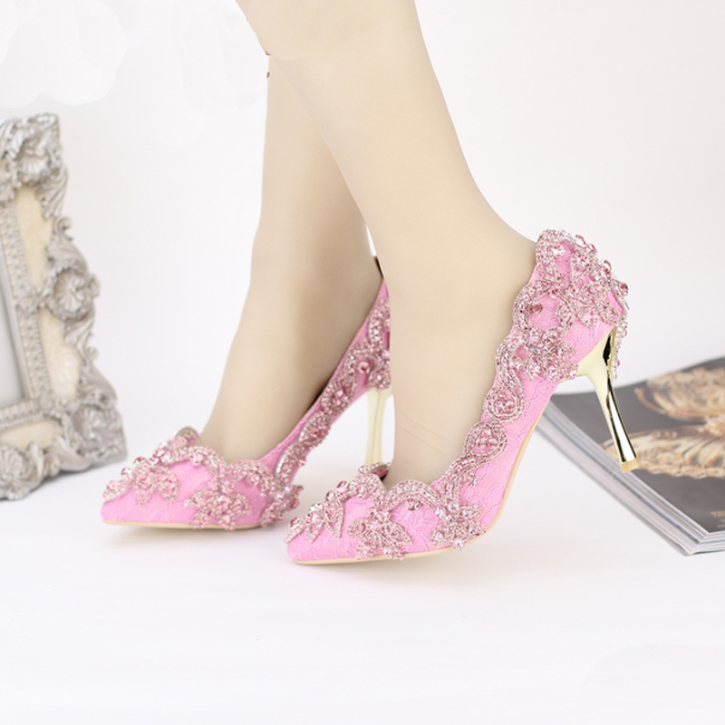 Pointed Toe High Heels For Wedding Party Rhinestone Covered Bridal Dress Shoes Stiletto Heel Banquet Pumps White Pink Red Color<br><br>Aliexpress