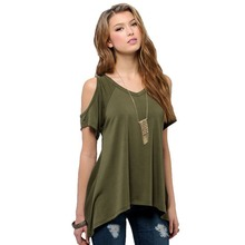 Shein Ladder-cutout Shoulder Tee Shirt Fashion Women Tops Summer Woman T Shirts 2016 Round Neck Casual Black Crop T-shirt(China (Mainland))