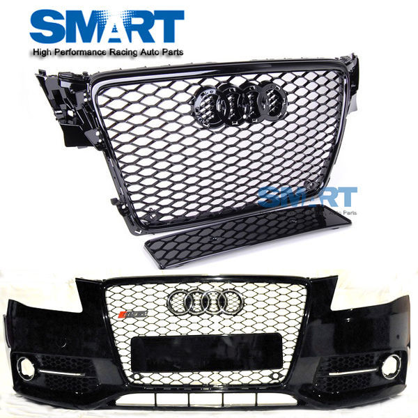 RS4 Front Glossy Black Euro Racing Grille for 2009-2012 Audi Bumper Quattro A4 Honey-comb S4 B8 8K Avant(China (Mainland))