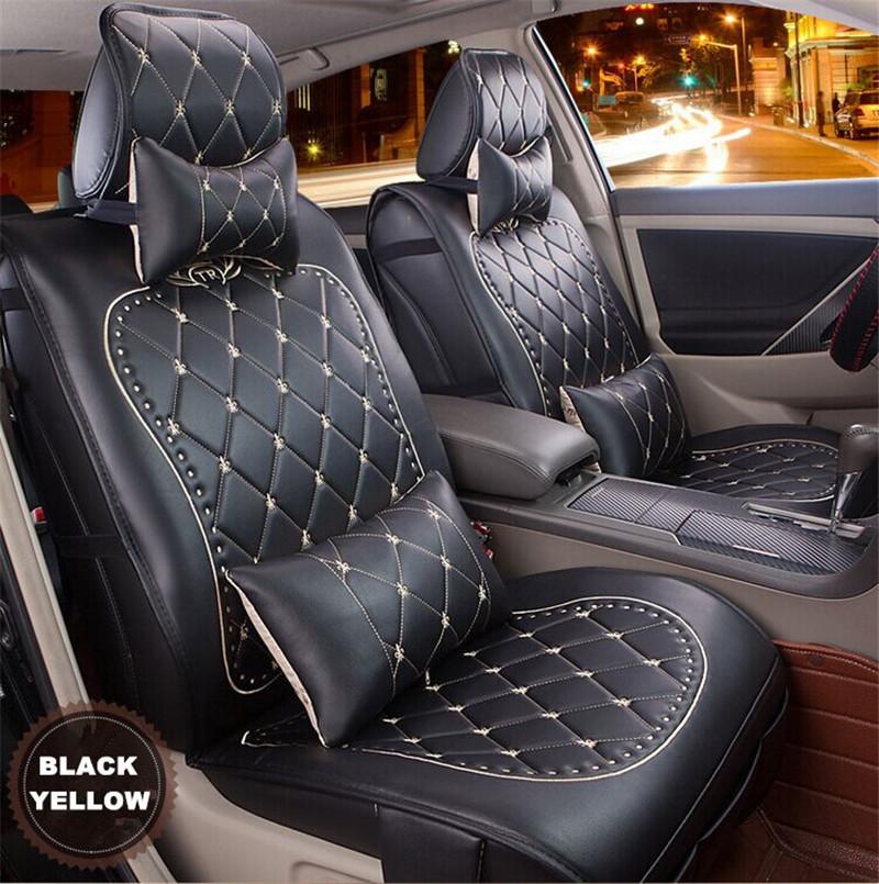 Car Seat Covers Fashion Grid Leather Car Seat Cushion Cheap cushion ...