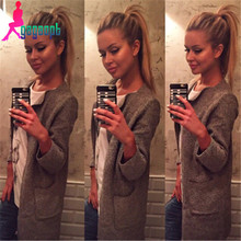 fashion women solid candy color pockets casual long design knitted sweater coat/cardigans/knitwear female(China (Mainland))
