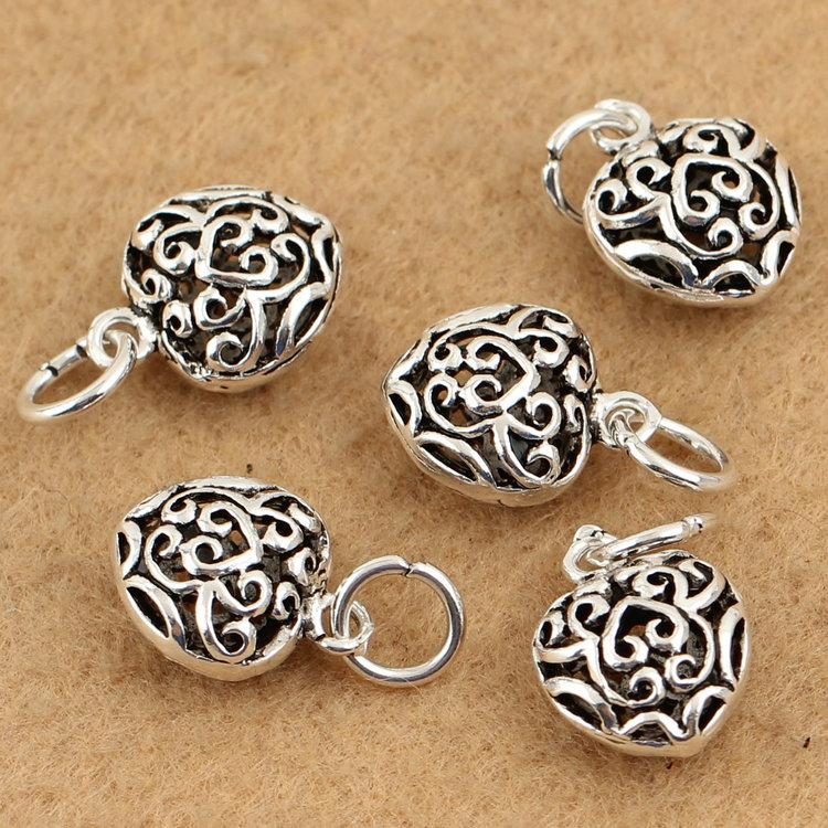 S925 Silver Thai Silver Accessories DIY accessories dimensional hollow love love pendant ornaments accessories Accessories(China (Mainland))