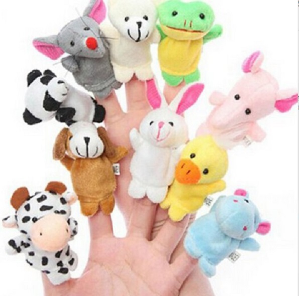 10 PCS/pack Tiny Cute Animal Farm Finger Puppets Learn Play Boys Girls Baby Velvet Toy Free Shipping(China (Mainland))