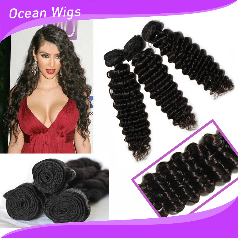 Wavy Crochet Braid Hair Weft Extension Dyeable Remy Hair Weave Deep ...