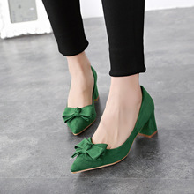 20415 new fashion bow pointed shoes suede high heeled shoes Baotou rough documentary 2