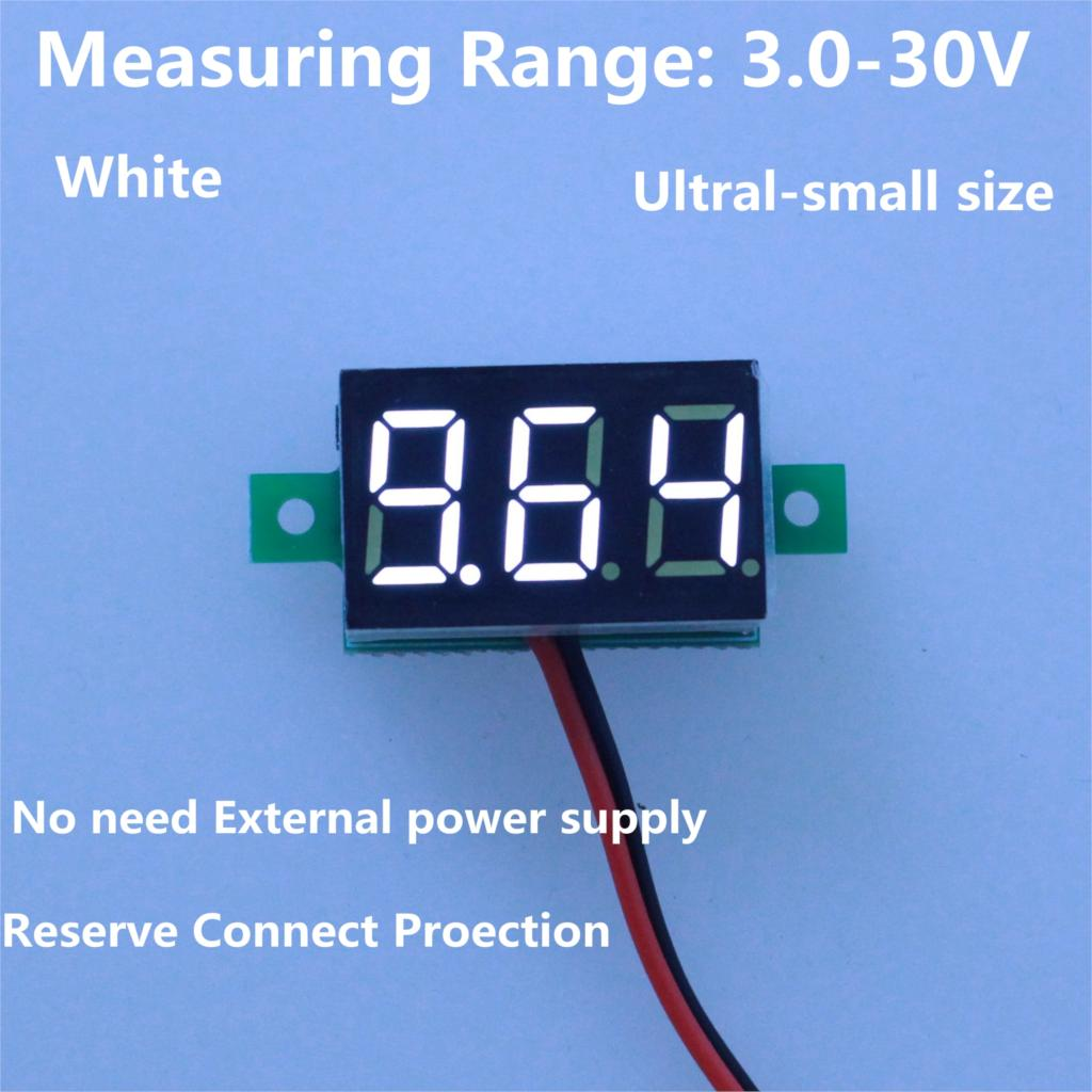 5PCS/lot Dropshipping White Led display color DC3-30V car digital volt voltage panel meter gauge auto voltmeter battery monitor(China (Mainland))