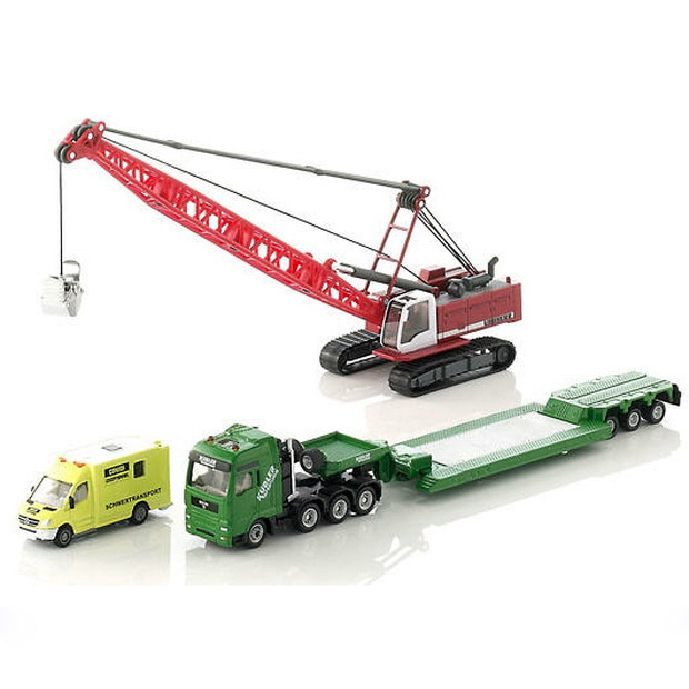 siku 1834 heavy haulage transporter truck with excavator and service vehicle 1:87 alloy car model
