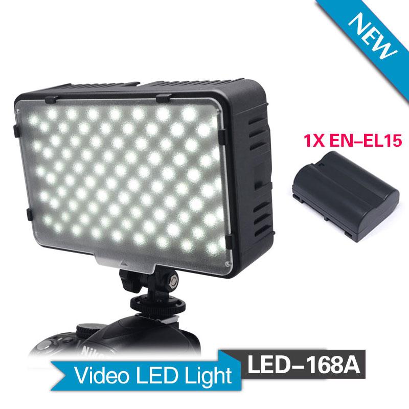 Mcoplus 168A LED Video Light with 1pcs EN-EL15 battery for Camcorder &amp; Digital SLR Cameras<br><br>Aliexpress