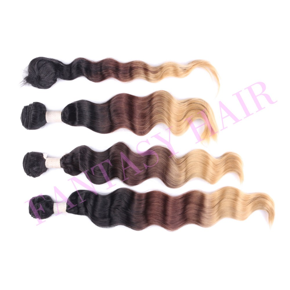 Heat resistant light brown ombre brazilian loose wave weave with closure synthetic hair extensions weft pieces weaving P09219-4