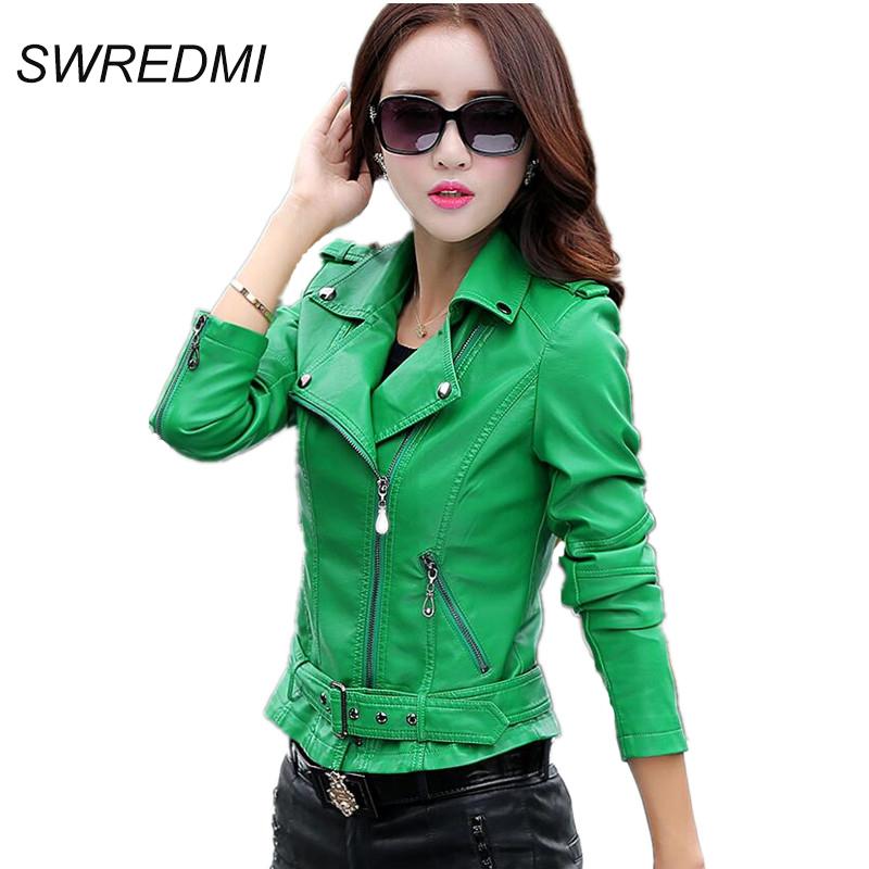Autumn leather clothing female short leather coats slim fashion women's leather jacket motorcycle leather green,beige white,red.(China (Mainland))