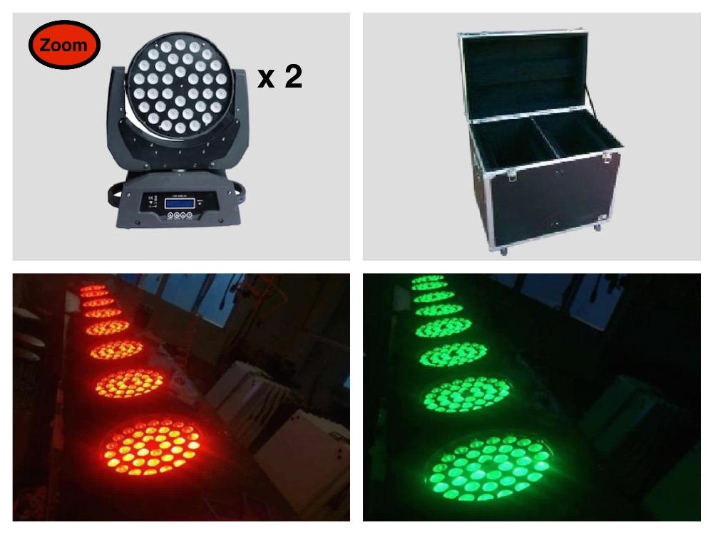 2pcs/lot+flightcase, Zoom LED Moving Head Wash Light 36x10W RGBW Quad Stage Lights Equipment DMX zoom dj disco(China (Mainland))