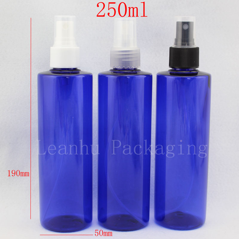 250ml X 24 wholesale blue cosmetic bottle container with mist spray pump ,250cc empty perfume sprayer bottle cosmetic packaging(China (Mainland))