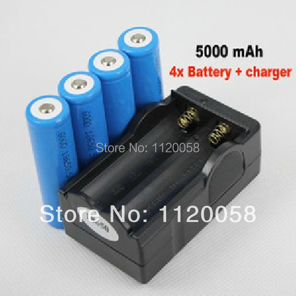 4x 5000mAh 3.7V 18650 Li-ion Rechargeable Battery + Charger For UltraFire LED Flashlight Torch flash light(China (Mainland))