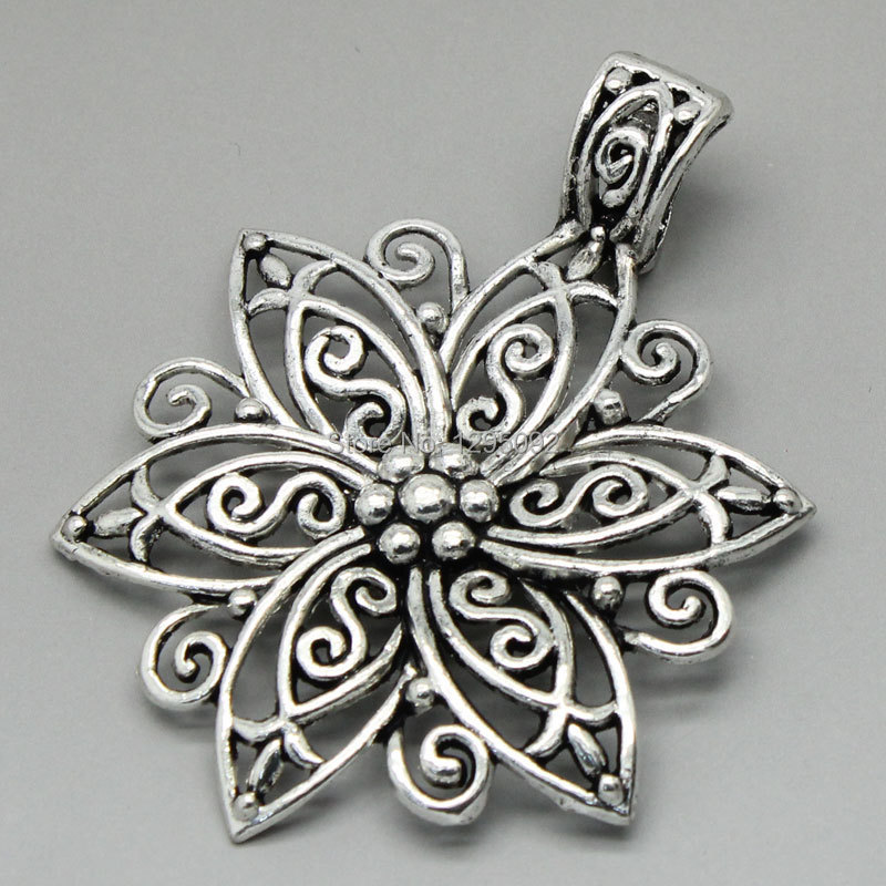 125 Free Shipping Hot New DIY Charms Pendants Hollow Pattern Carved Flower Silver Tone Jewelry Component Findings 6.6x4.8cm<br><br>Aliexpress