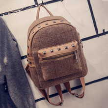Buy Rivet vintage small backpack women wool school bags teenage girls pu patchwork leather backpack female travel bag for $12.07 in AliExpress store