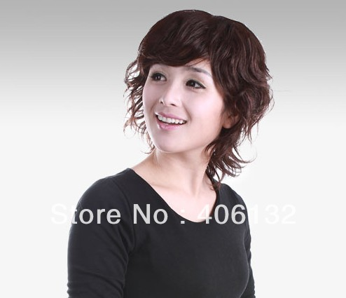 100% human hair,short curve fluffy wigs, middle age lady wigs,mother noble short wigs - Zero Profit Zone store