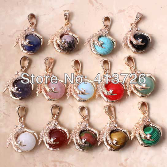 wholesale 14Pcs Charm Mixed Order Gold-plated Dragon Claw Stone Beads  Pendant Jewelry Fit Necklace