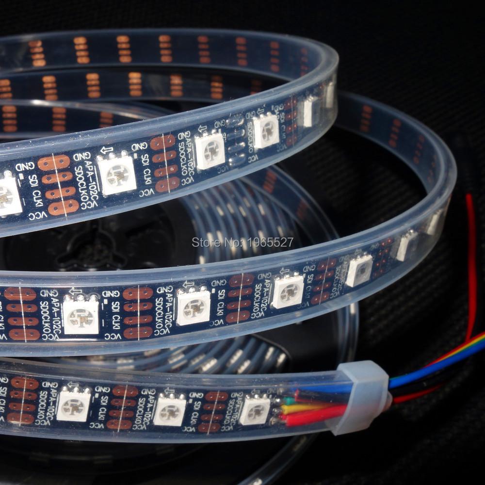 on stock APA102 5050 smd rgb led strip digital pixel light;60LEDs/m;60Pixels/m;4M/roll;DC5V,Black PCB;Waterproof silicon tube(China (Mainland))