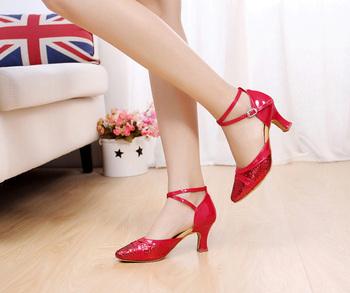 Modern dance shoes paillette women's latin dance shoes Ballroom dancing shoes Winter and Autumn performance dance shoes